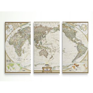 Map wall art joss main national geographic world map graphic art print multi piece image on wrapped canvas gumiabroncs Gallery