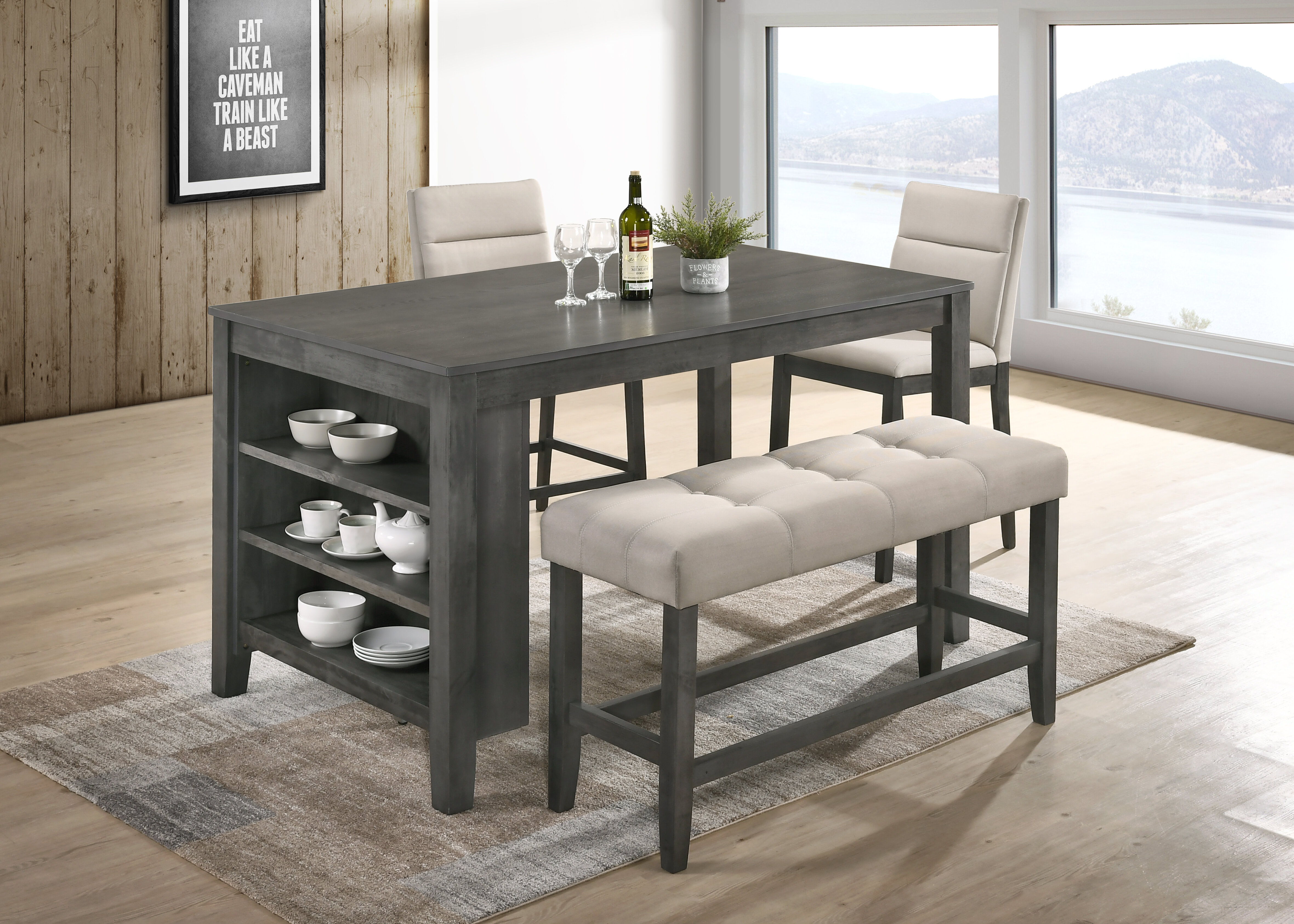 Marvelous Counter Height Dining Set With Bench Avalonit Net Creativecarmelina Interior Chair Design Creativecarmelinacom