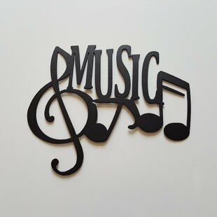 Music Word With Notes Metal Wall Décor