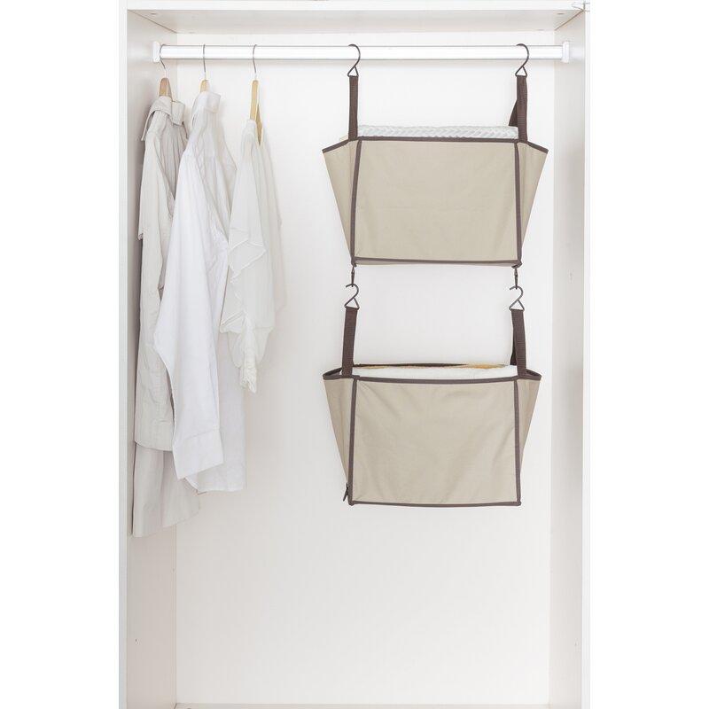2 Shelf Hanging Closet Organizer With Hooks
