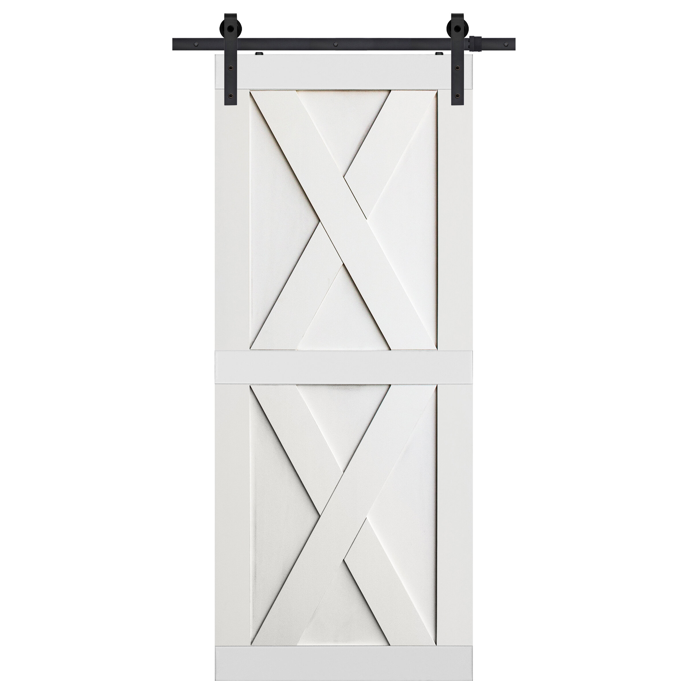 Double X Solid Manufactured Wood Panelled MDF Interior Barn Door
