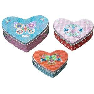 3-tlg. Aufbewahrungsboxen-Set Vintage Heart aus ..
