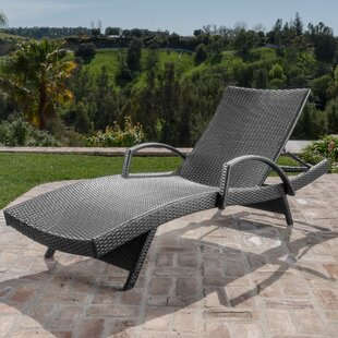Gilleasbuig Outdoor Wicker Armed Chaise Lounge
