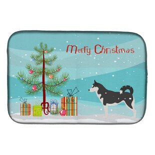 siberian husky merry christmas tree dish drying mat