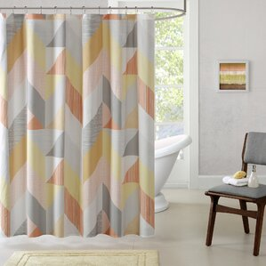 orange and brown shower curtain. Horta Cotton Printed Shower Curtain  Orange Aqua Modern Curtains AllModern