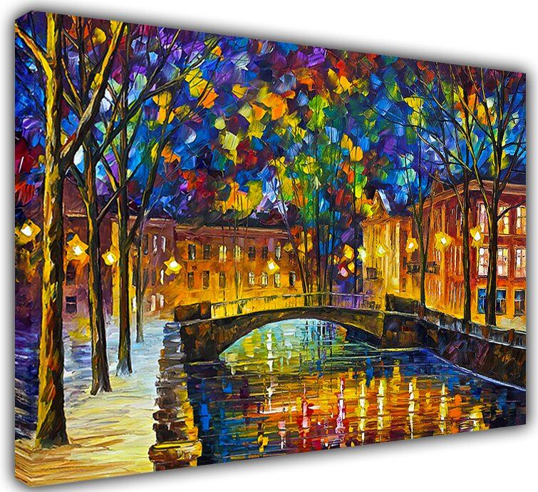 city by leonid afremov painting print on wrapped canvas