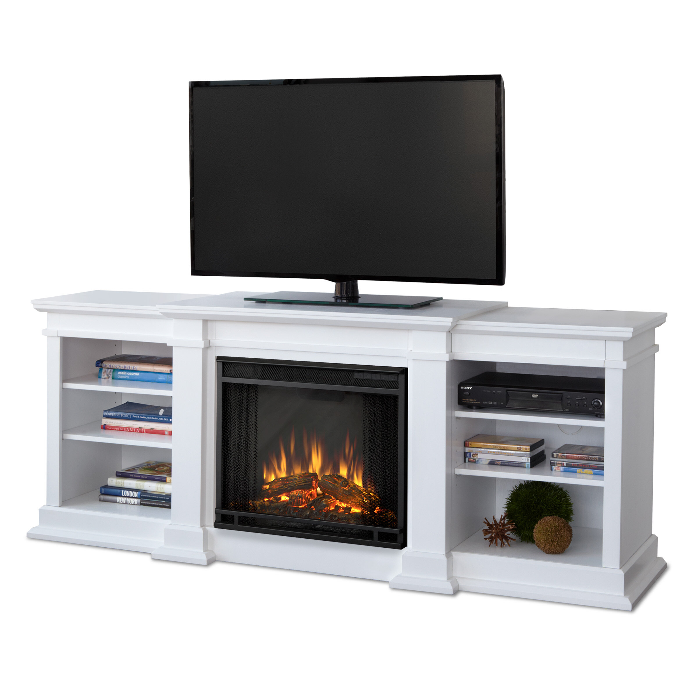 Real flame fresno 72 tv stand with fireplace reviews for Wayfair store