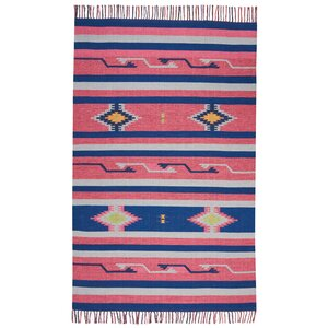 Rocky Hand Woven Pink/Blue Area Rug