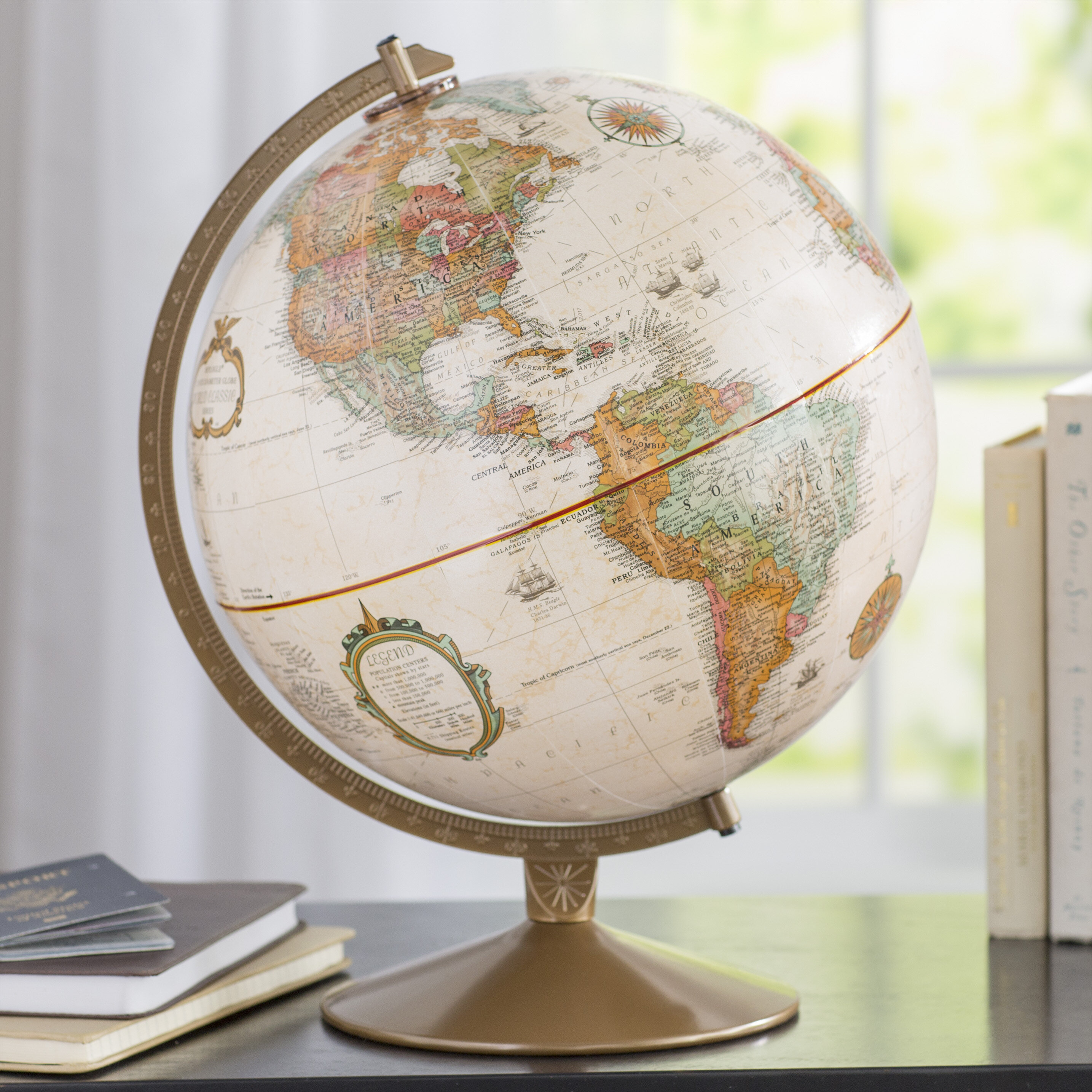 2018 Country Lines Globe With Antique Shading 12 Diameter Raised Relief Topographical Political Globe
