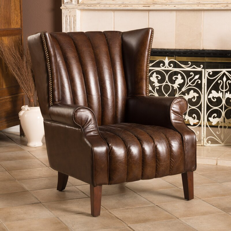 grisson leather wingback chair