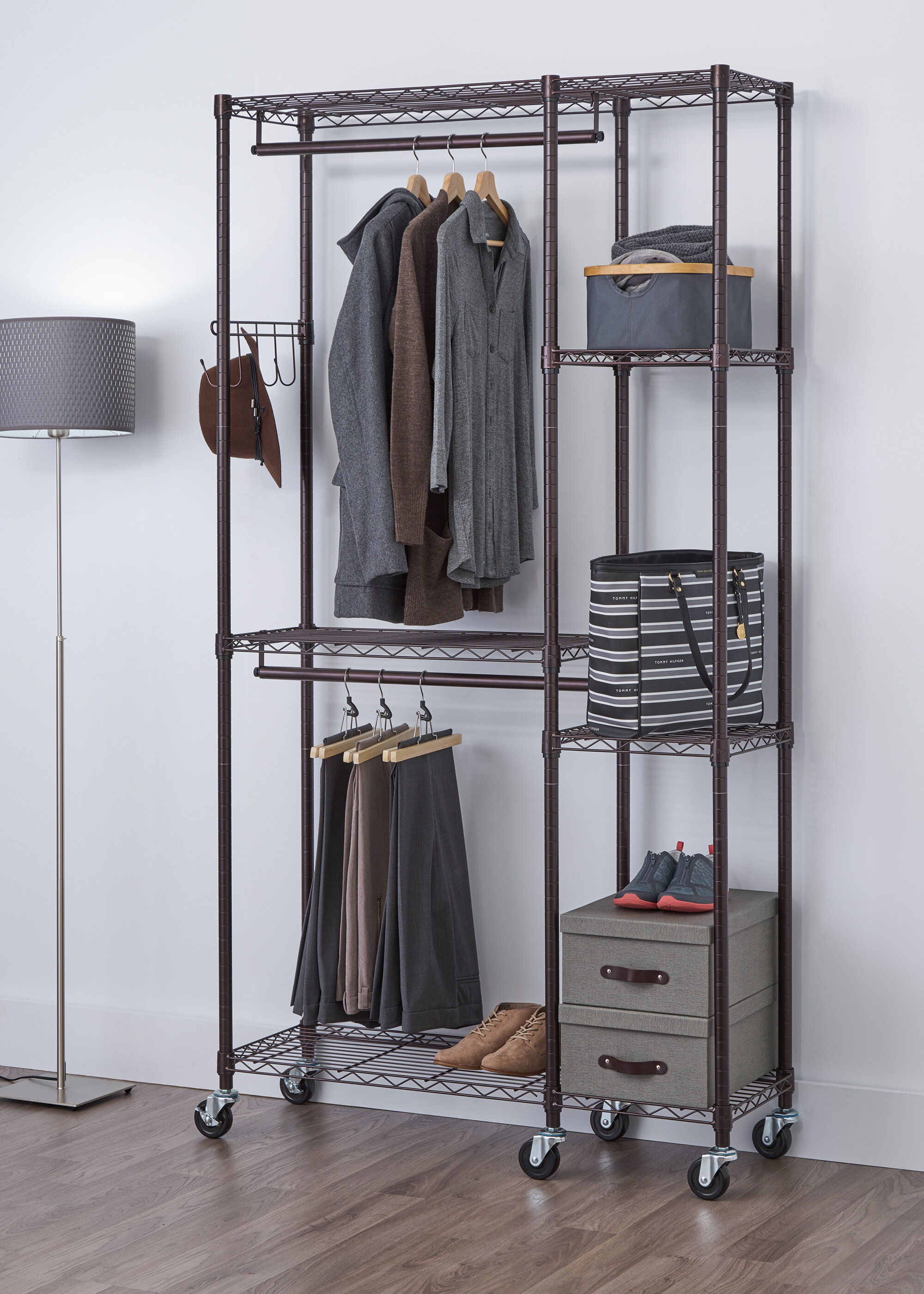 rebrilliant storage w industrial garment ca reviews rack wayfair rolling organization single pdp rod