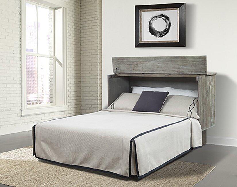 sadie ash queen storage murphy bed with mattress