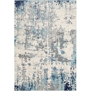 Ebern Designs Azurine Distressed Abstract Teal Gray Area