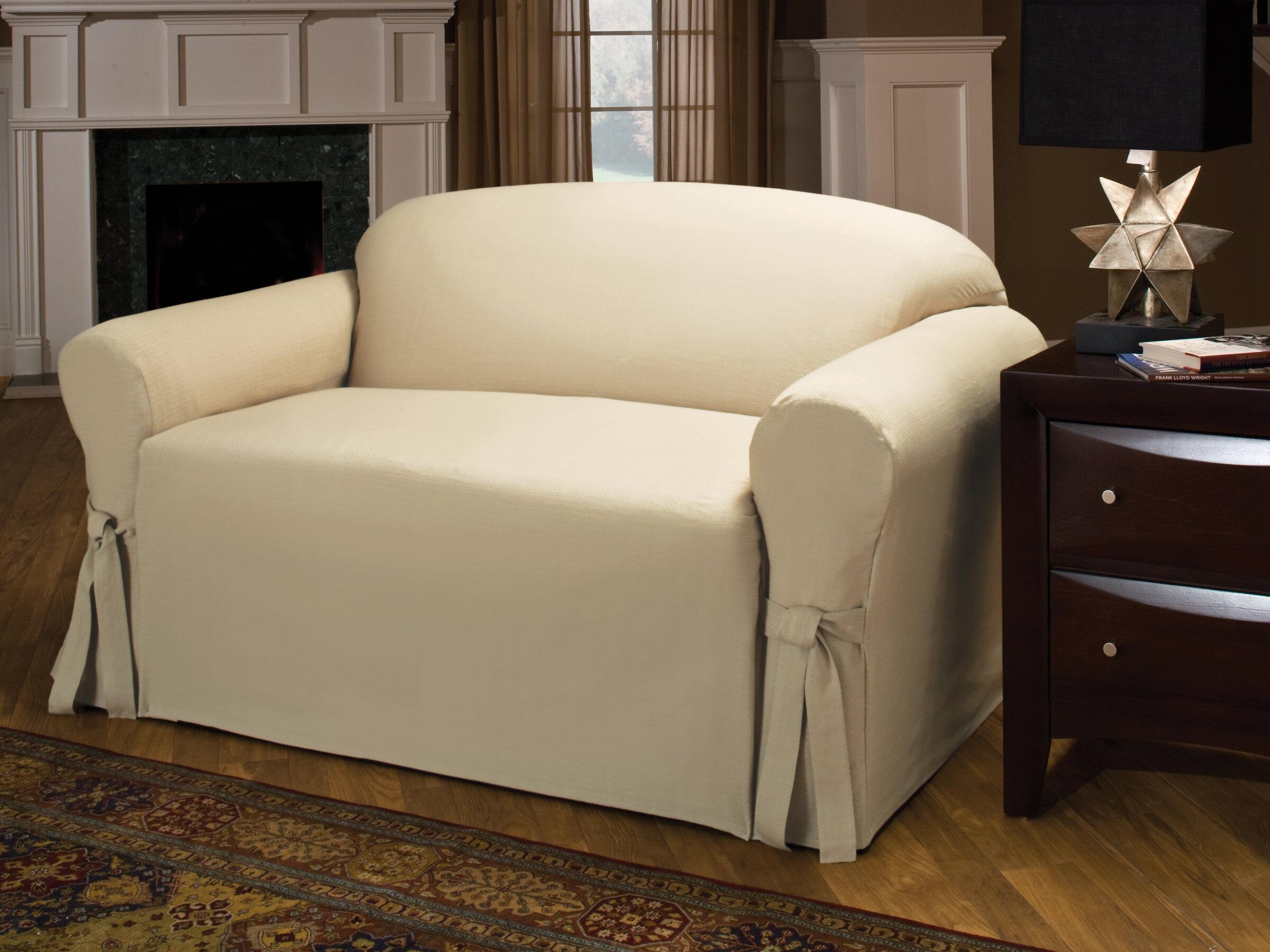 Three Posts Tie Cotton Blend Box Cushion Sofa Slipcover U0026 Reviews | Wayfair