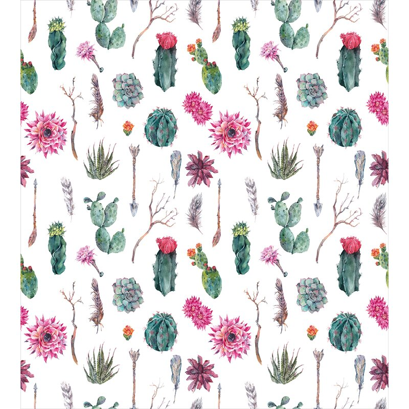 Cactus Vintage Botanical Pattern Arrows Feathers Succulent Twigs Hawaii  Spring Tropic Duvet Cover Set