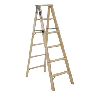5.08 ft Wood Step Ladder with 250 lb. Load Capacity