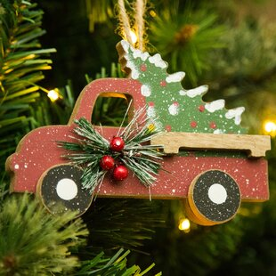 Wooden Truck Shaped Ornament
