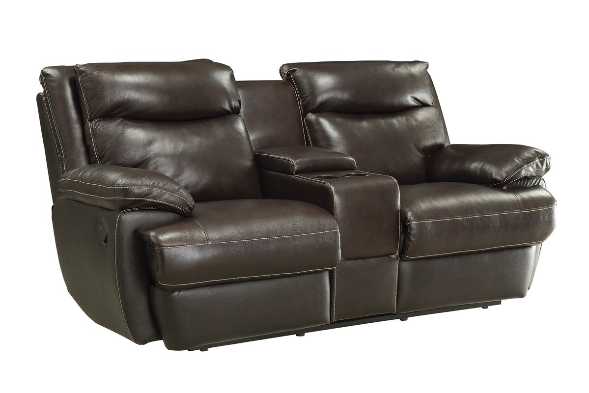 Hughes Leather Reclining Loveseat  sc 1 st  Wayfair & Red Barrel Studio Hughes Leather Reclining Loveseat u0026 Reviews ... islam-shia.org