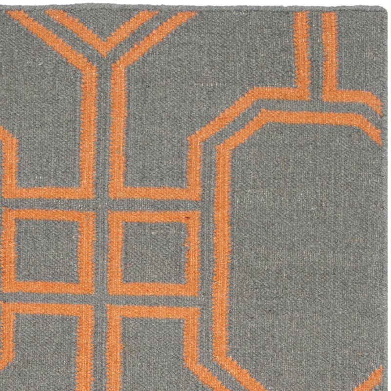 Safavieh Dhurries Hand Woven Wool Gray Orange Area Rug