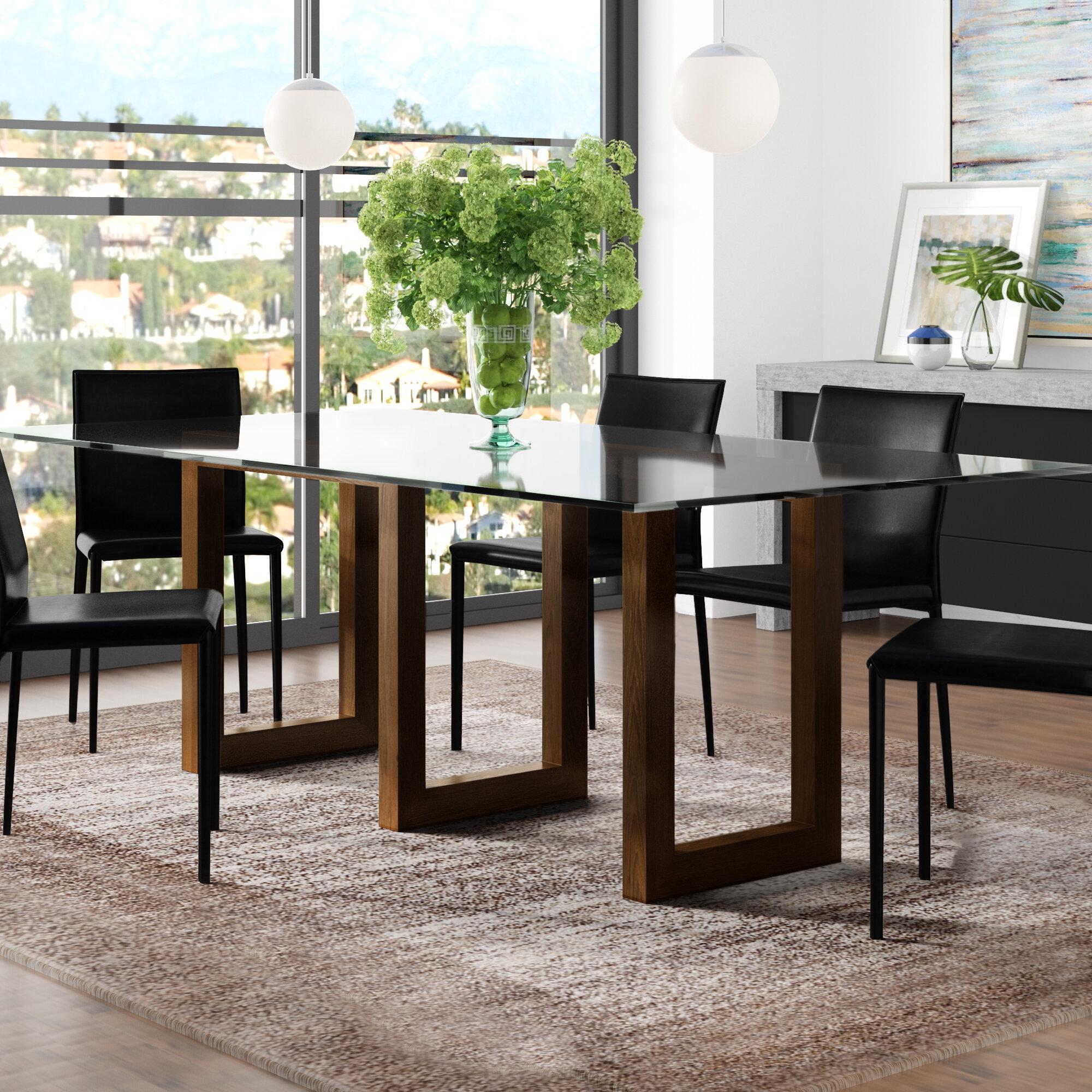 Orren Ellis Reesa Glass Solid Wood Dining Table  8112f4b9f888