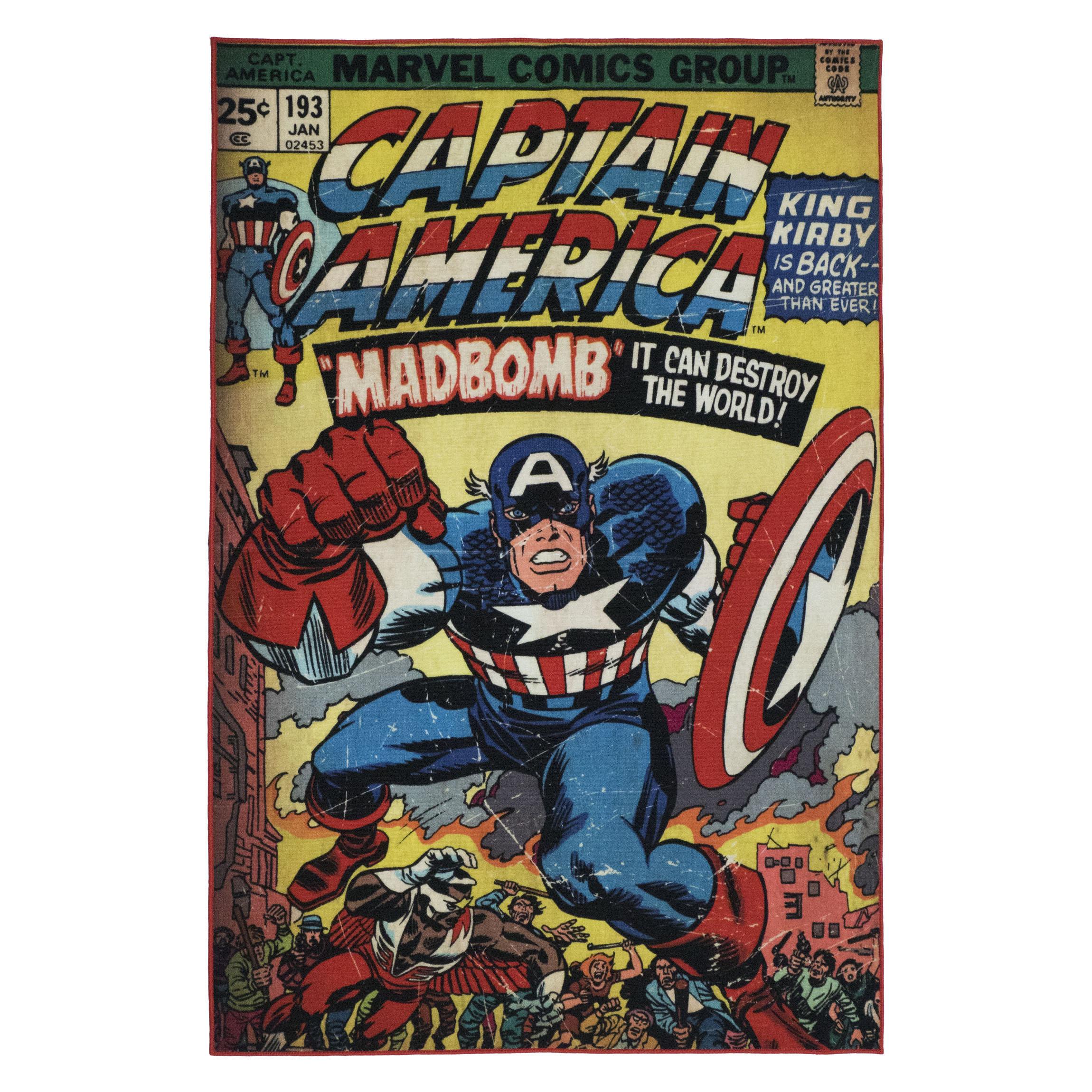 Kid S Company One Of A Kind Marvel Captain America Red Blue Area Rug Wayfair