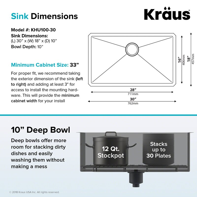 "30"" x 18""  Undermount Kitchen Sink"