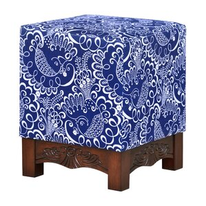 Robyn Printed Square Foot Stool Ottoman by B..