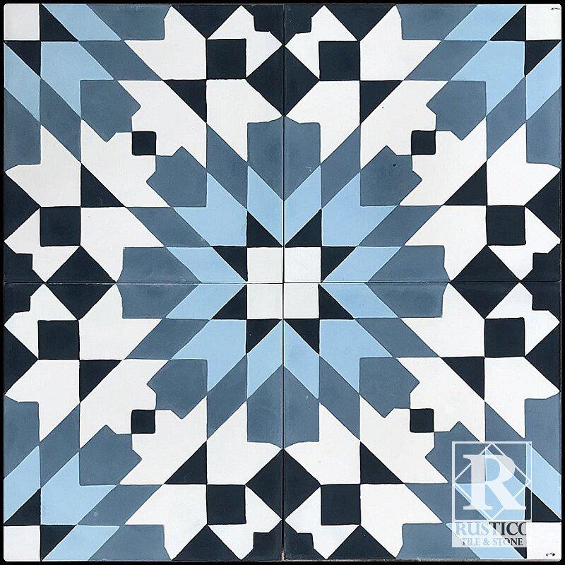 Patterened floor tiles tile design ideas for Blue and white cement tile