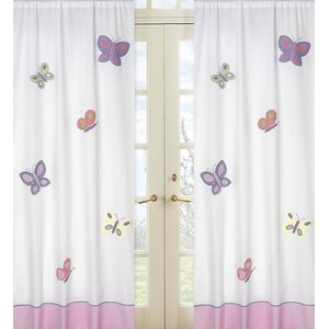 Butterfly Wildlife Semi-Sheer Rod Pocket Curtain Panels (Set of 2)