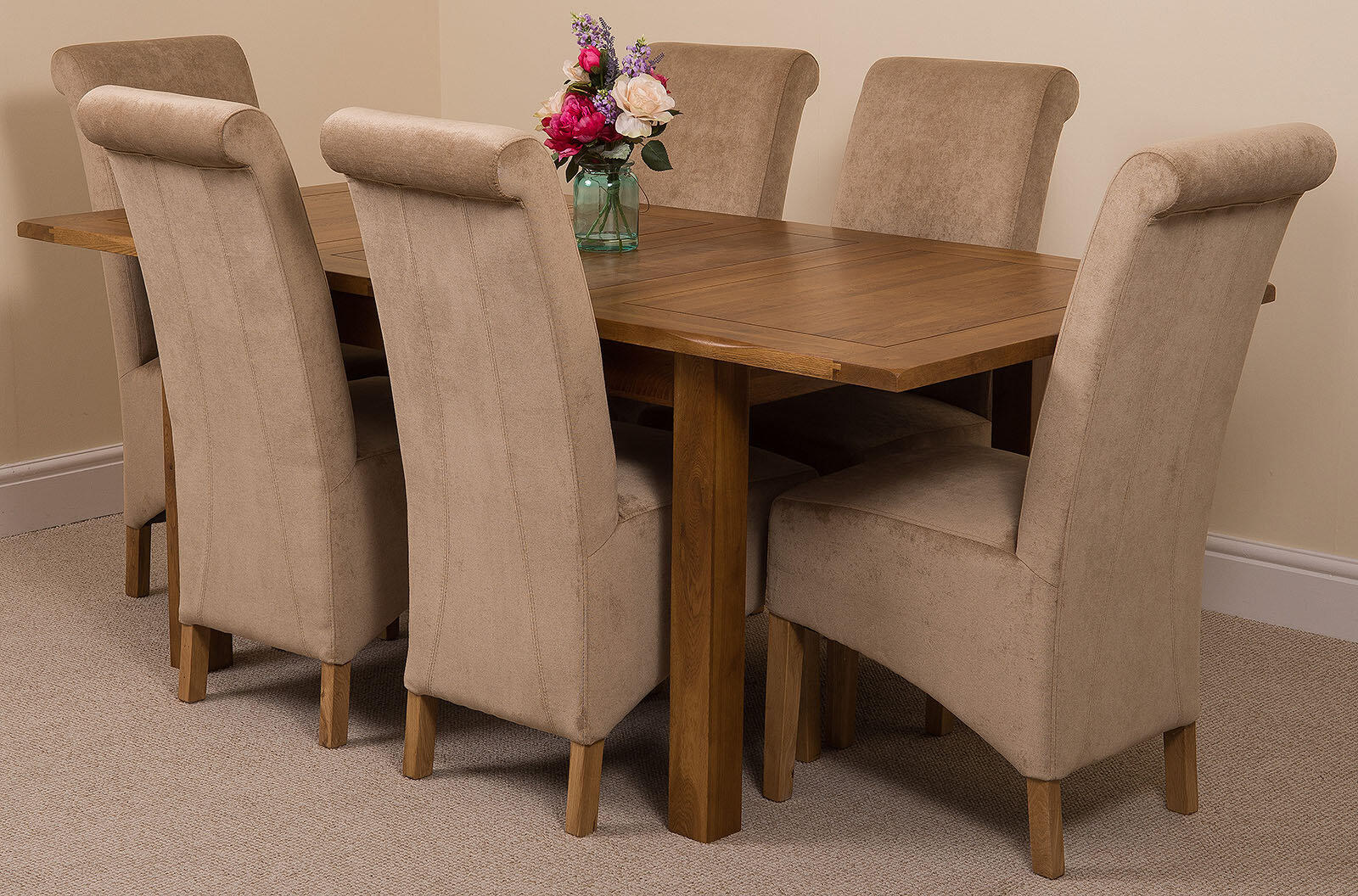 Red Barrel Studio Monroeville Solid Oak Dining Table With 6 Montana
