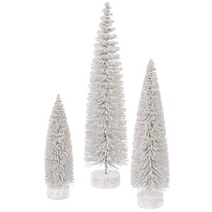 3 piece glitter oval white artificial christmas tree set - 3 Foot White Christmas Tree