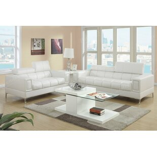 Modern & Contemporary White Leather Sofa Sets | AllModern