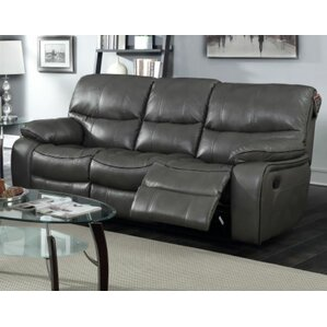 Bradley Leather Reclining Sofa by Red Barrel..