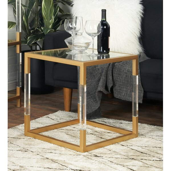 Cole Amp Grey Metal Glass And Acrylic End Table Amp Reviews