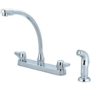 Central Brass Centerset Double Handle Standard Kitchen Faucet with Side Spray