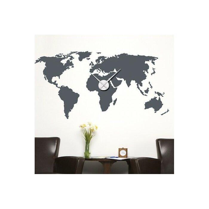 World Map Wall Clock Wall Decal  sc 1 st  Wayfair & Style and Apply World Map Wall Clock Wall Decal | Wayfair.ca