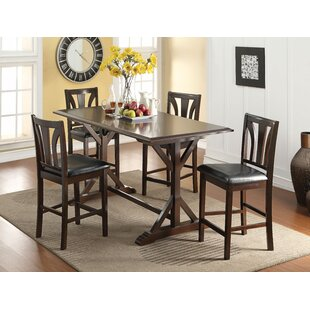 Goudy 5 Piece Solid Wood Dining Set Sale
