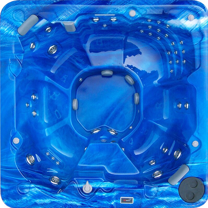 FuturaSpas 8-Person 88-Jet Spa with Stainless Jets and Waterfall ...