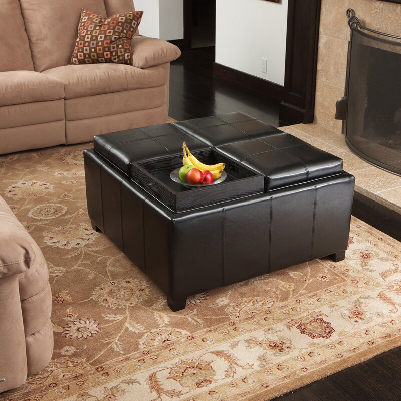 Charming Ashton Leather Tray Storage Ottoman Part 4