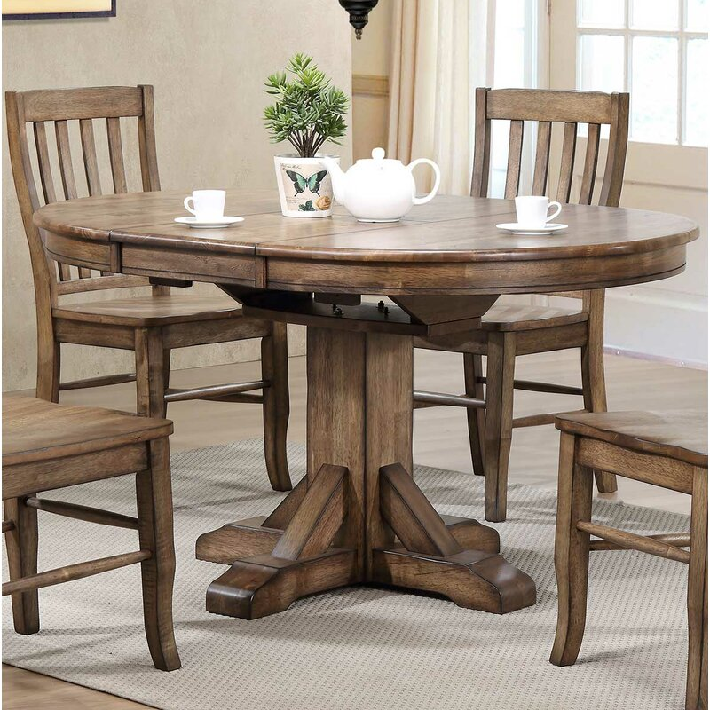 Rutledge Pedestal Extendable Solid Wood Dining Table