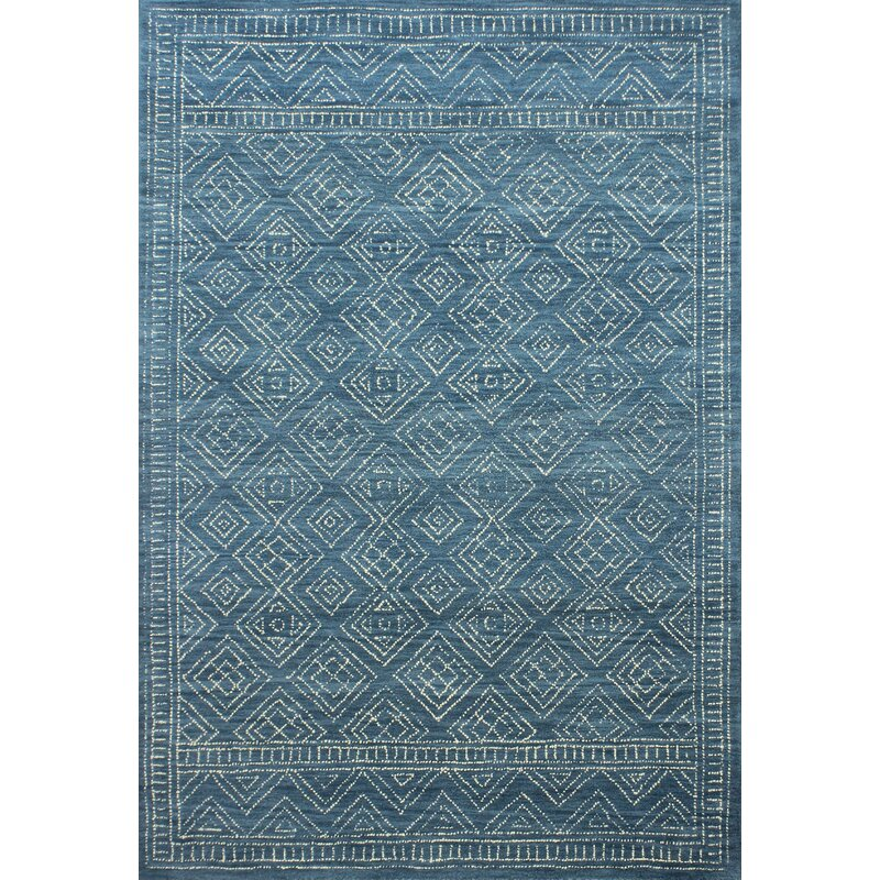 Mistana Kory Hand-Hooked Wool Azure Area Rug, Size: Rectangle 76 x 96