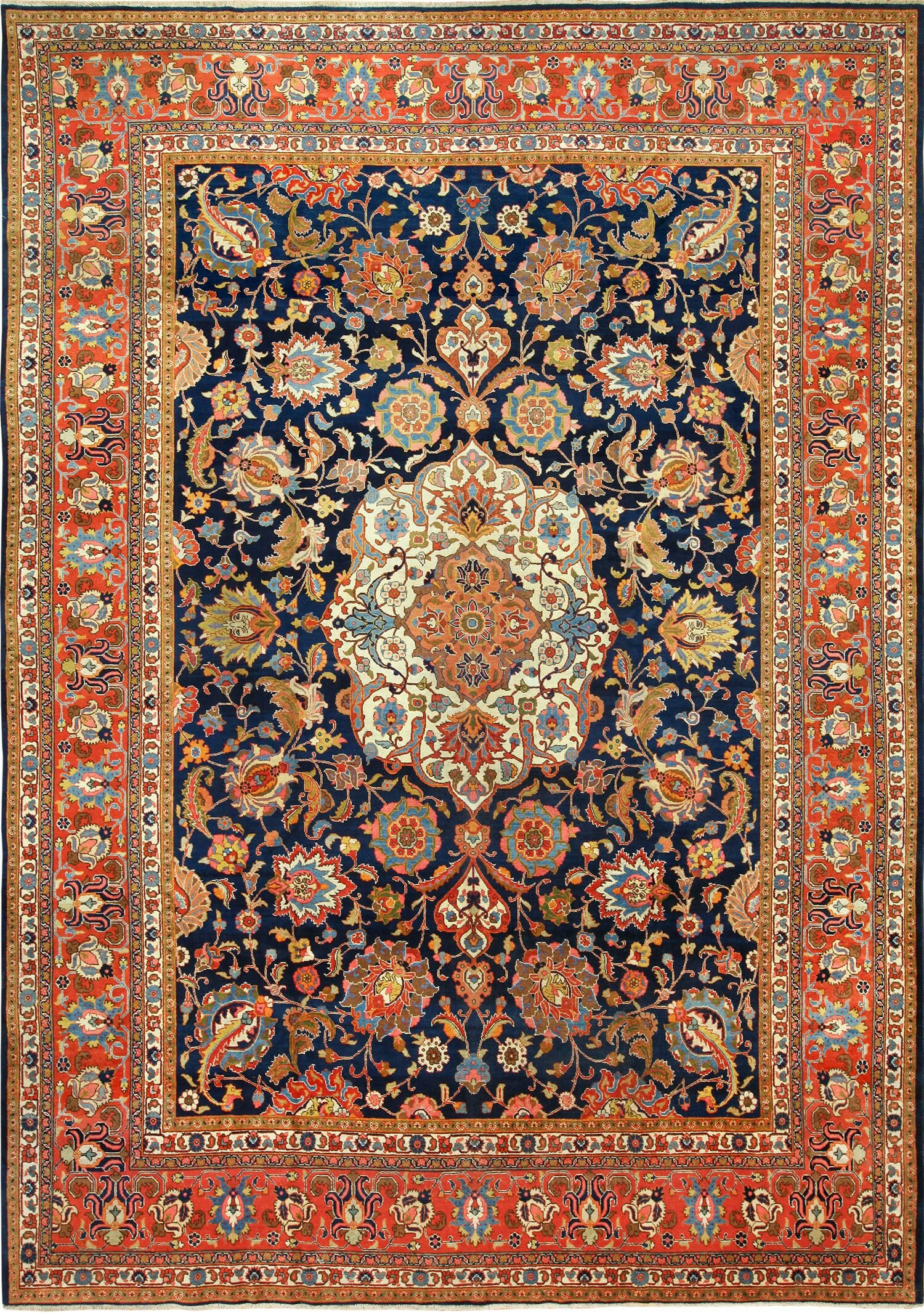 Tabriz Persian Wool Antique Navy Blue Brown Area Rug