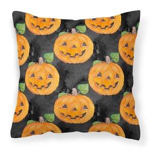 Watecolor Halloween Jack-O-Lantern Outdoor Throw Pillow