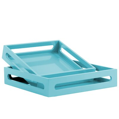 Turn on the Brights Westwick 2 Piece Square Serving Tray Set Color: Blue