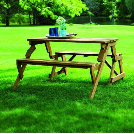 Loon Peak Luxton Convertible Wood Picnic Table Amp Garden
