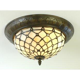 Tiffany light shades wayfair tiffany 2 light flush ceiling light aloadofball Gallery