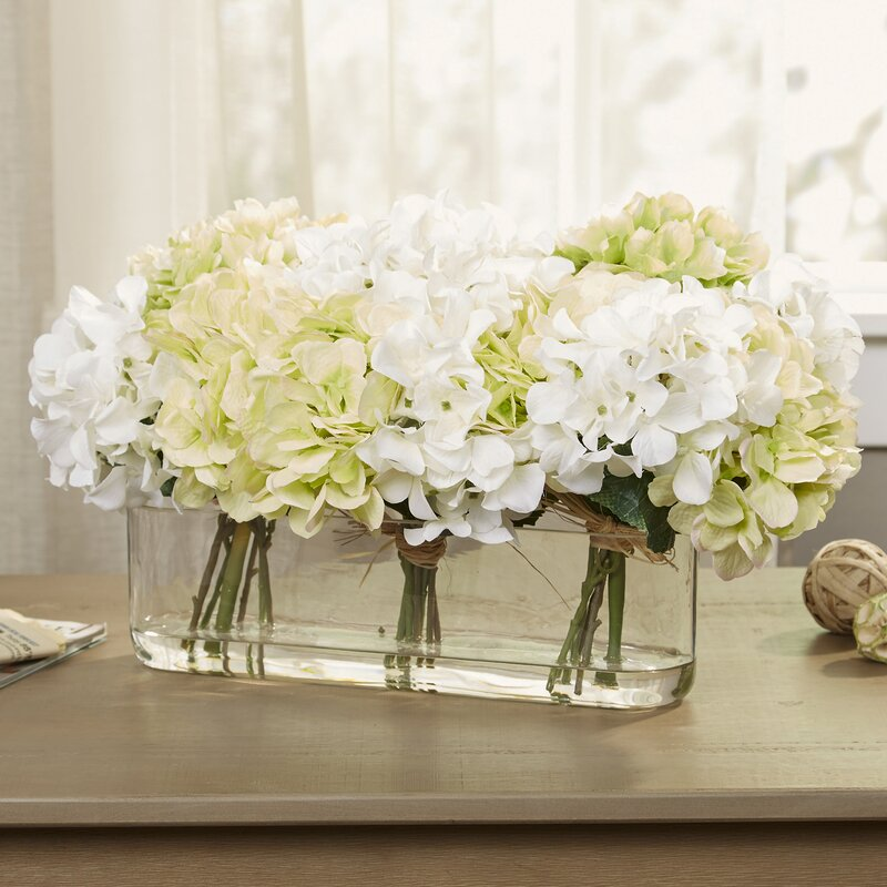Birch Lane Hydrangea Centerpiece In Glass Vase Amp Reviews