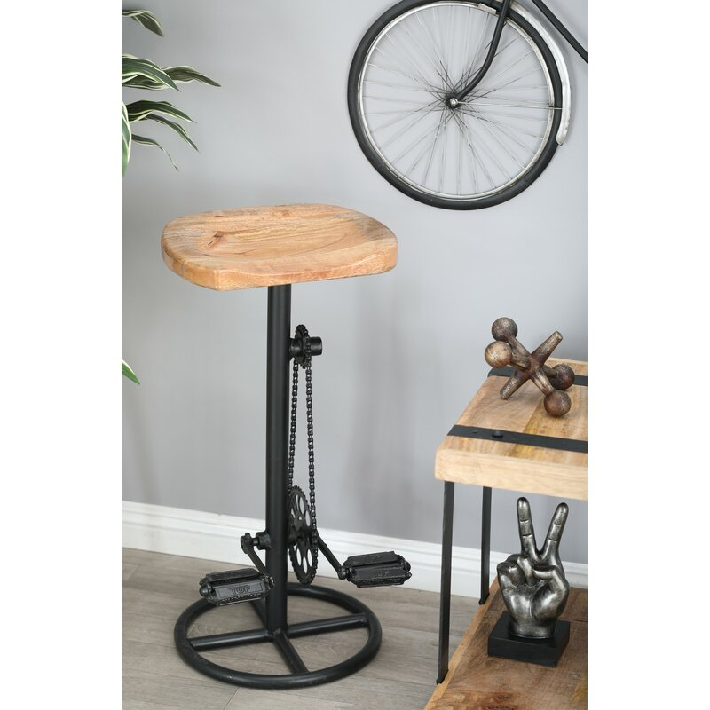 """Atalla Industrial Pedal and Gears 32"""" Bar Stool"""