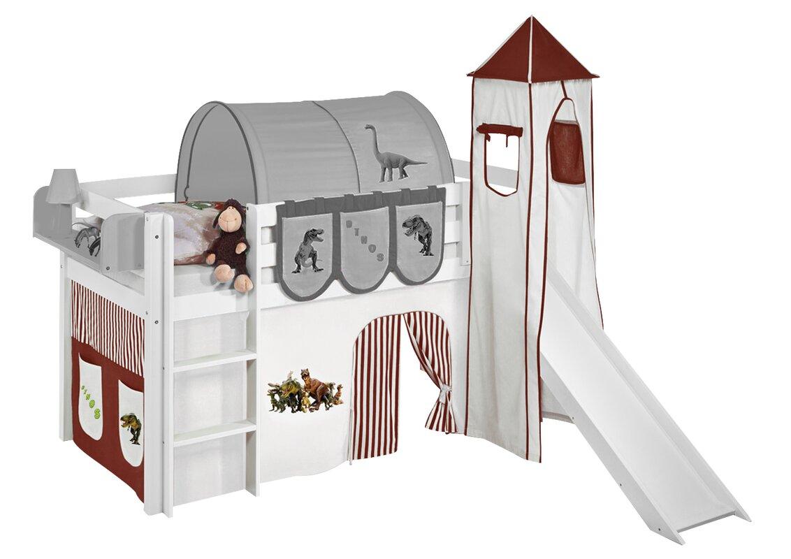 lilokids hochbett dinos mit turm rutsche und vorhang. Black Bedroom Furniture Sets. Home Design Ideas