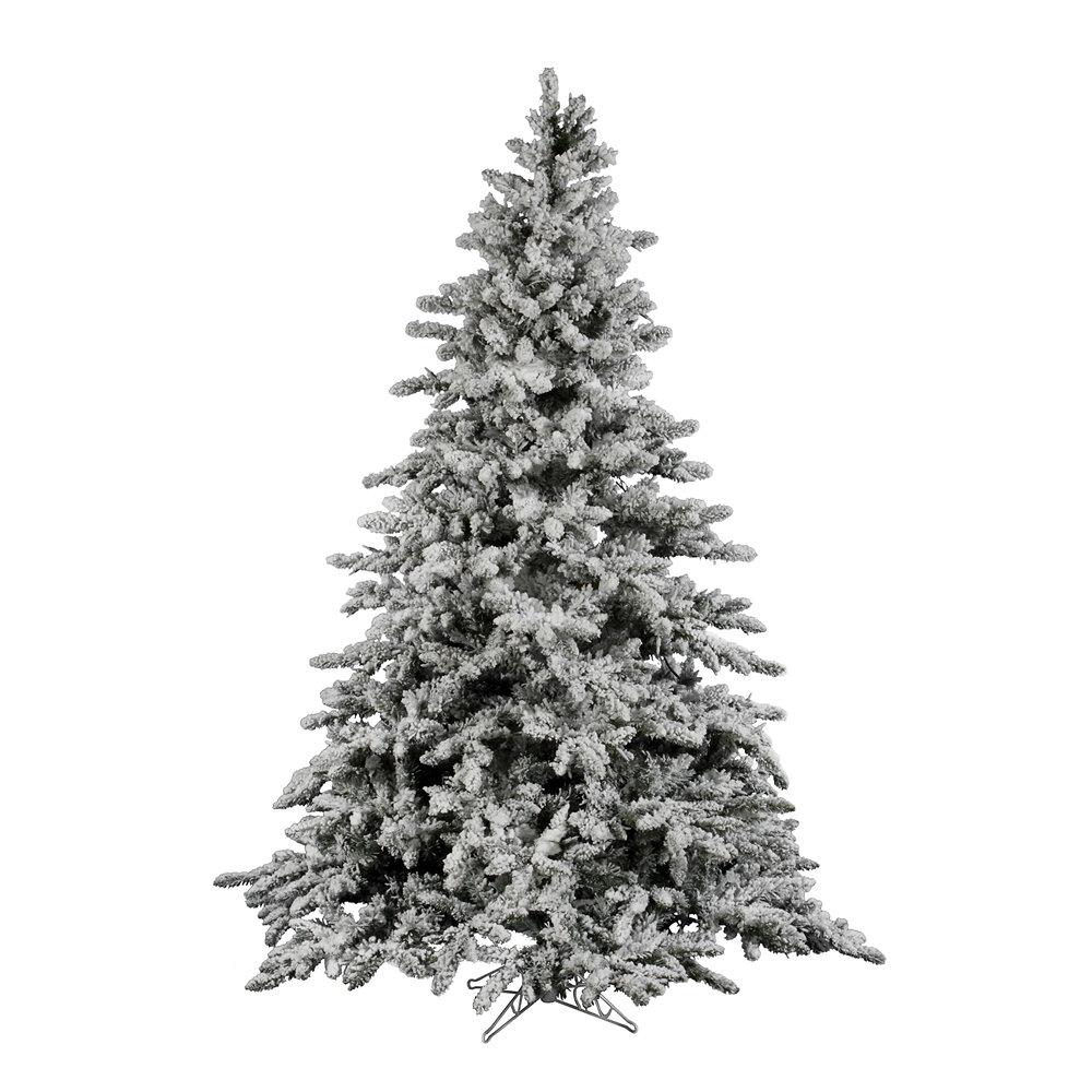 Vickerman Flock Utica 7.5\' Green/White Fir Trees Artificial ...